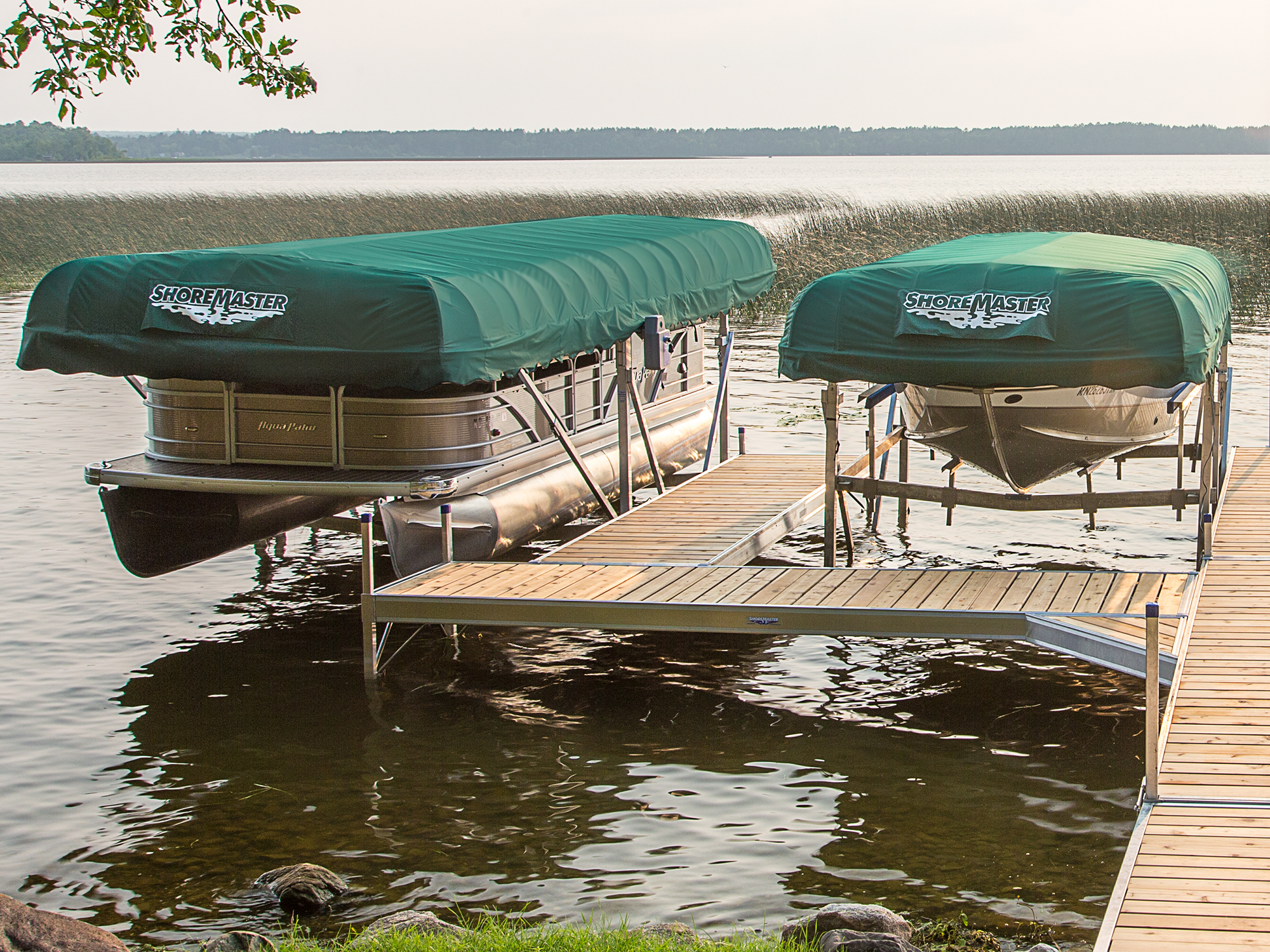 Traditional Canopies Forest Green Covers Vertical Lifts Infinity RS7 Dock with Cedar Decking