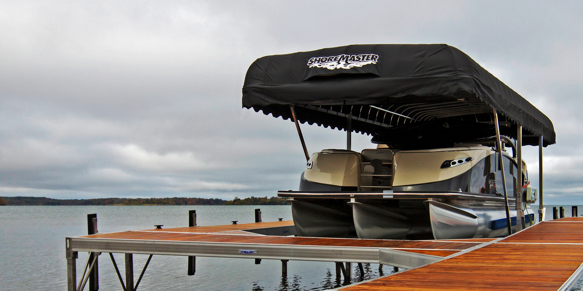 ShoreMaster Vertical Lift with Black Canopy and Infinity RS4 Dock with IPE Decking