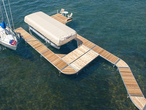 ShoreMaster Infinity RS4 Dock with Cedar Decking and Pontoon Lift