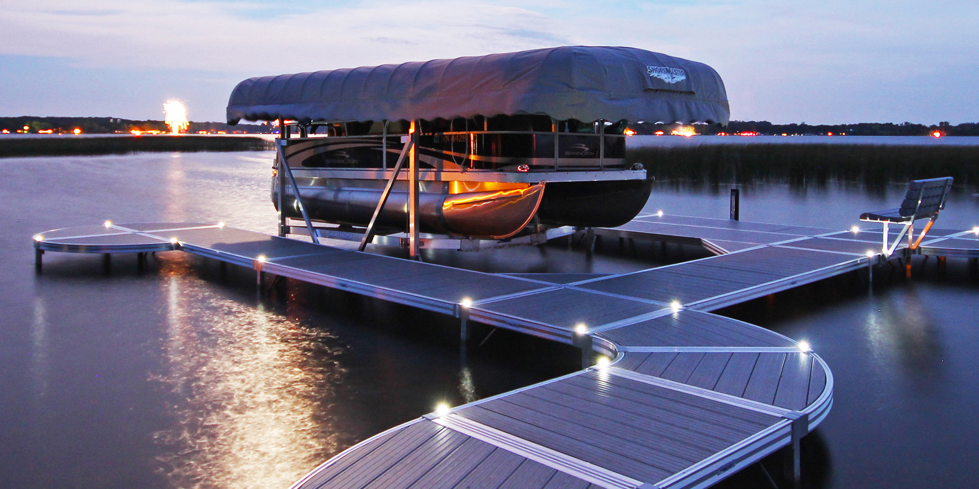 ShoreMaster Infinity RS4 Dock with Curve Dock with Gray Woodgrain and Dock Lights and Vertical Lift with Pontoon