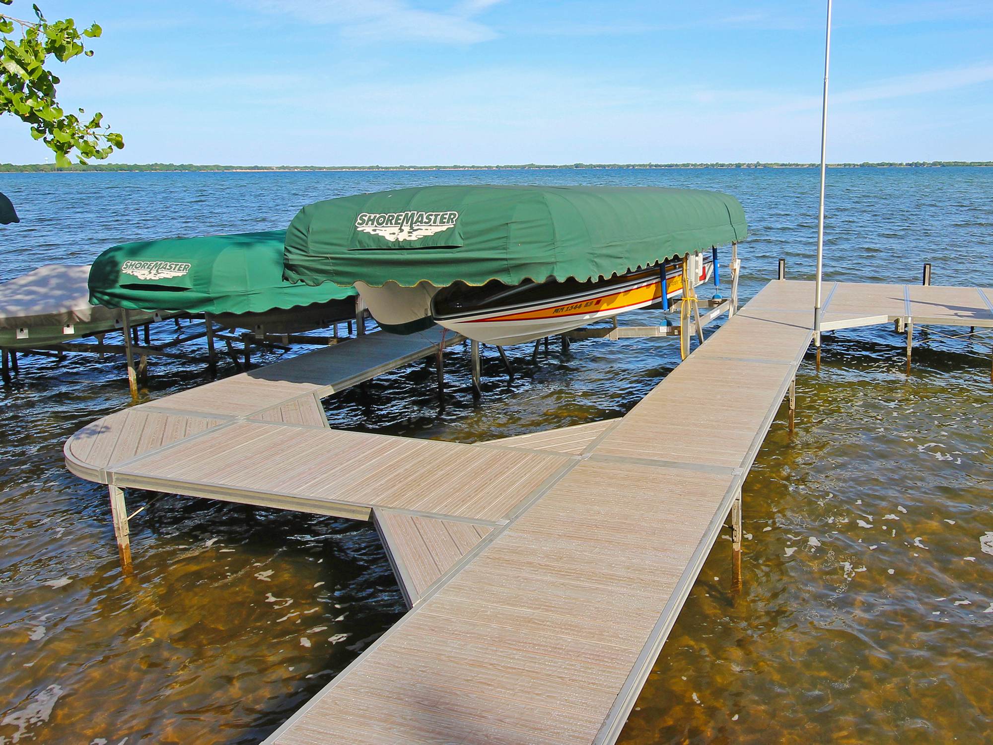 ShoreMaster Infinity RS4 Dock with Gray Oak Woodgrain with Green Canopy Cover