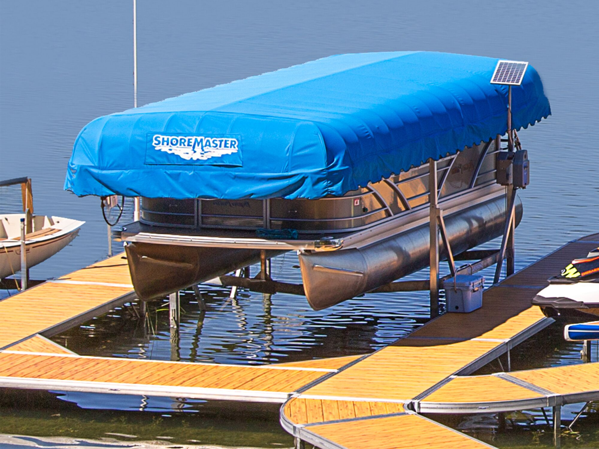 ShoreMaster Pacific Blue WeatherMax Traditional Frame Canopy Cover on a Vertical Lift with Woodgrain Decking